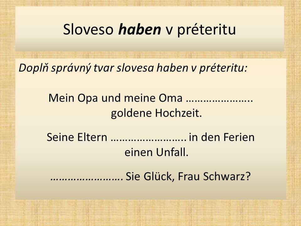 Sloveso haben v préteritu Doplň správný tvar slovesa haben v préteritu: Mein Opa und meine Oma …………………..