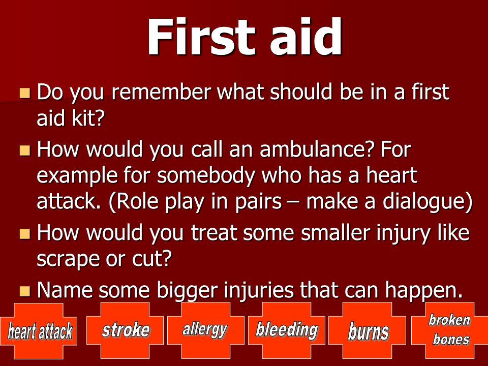 First aid Použité zdroje: http://office.microsoft.com http://www.youtube.com/watch?v=1qje- XlNowI&list=PL8271405A1DB09A5D http://www.youtube.com/watch?v=1qje- XlNowI&list=PL8271405A1DB09A5D https://www.youtube.com/watch?v=ILxjxfB4zNk