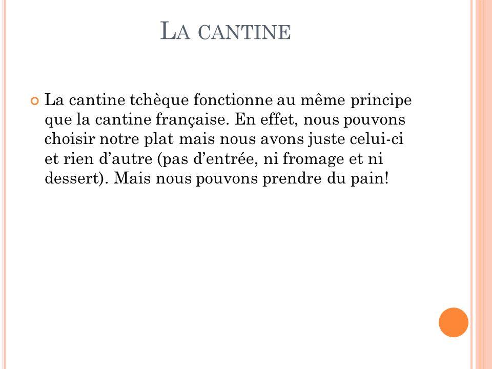 L A CANTINE La cantine tchèque fonctionne au même principe que la cantine française.
