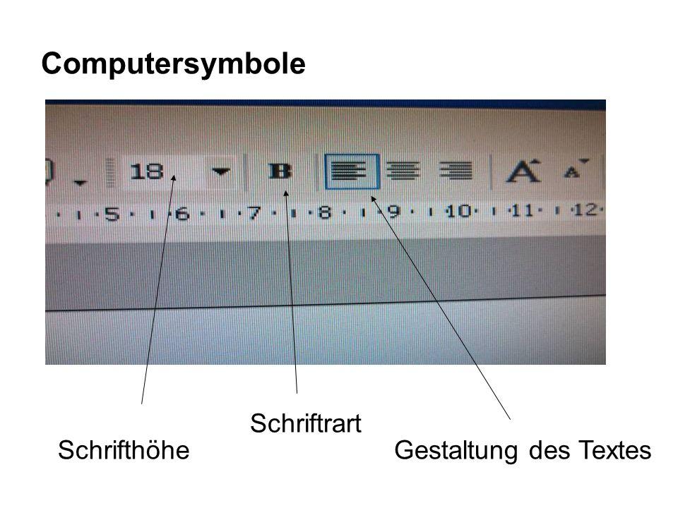 Computersymbole Gestaltung des TextesSchrifthöhe Schriftrart