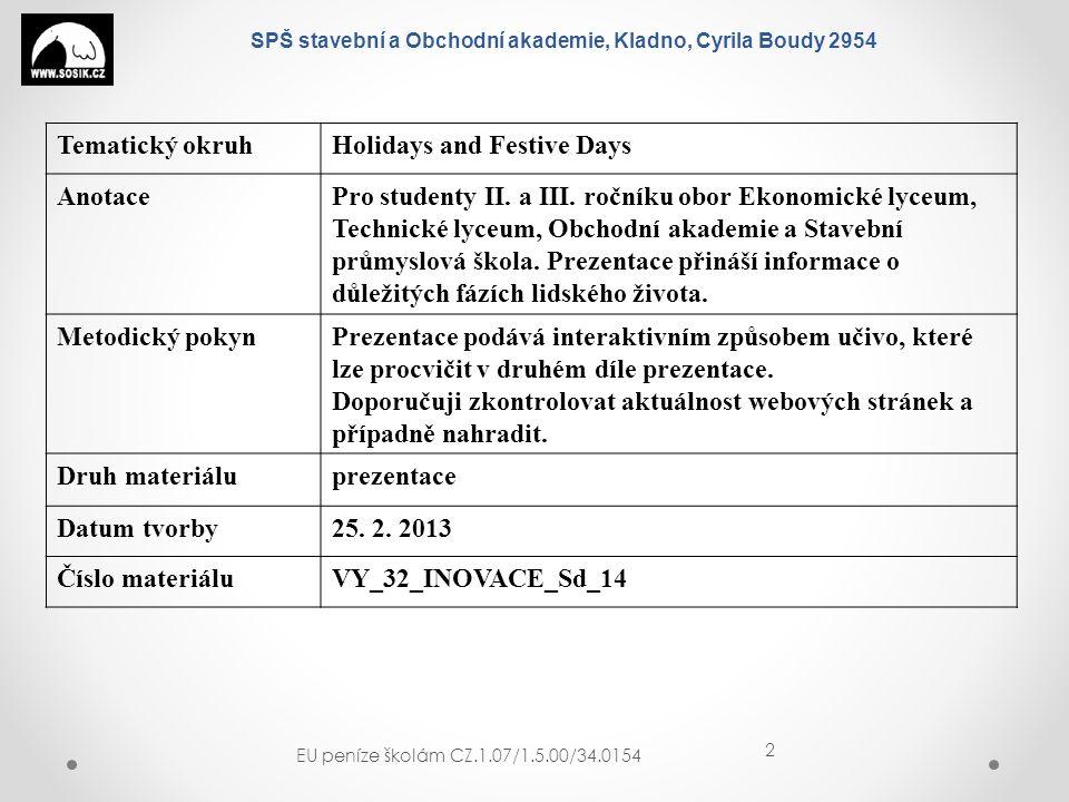 SPŠ stavební a Obchodní akademie, Kladno, Cyrila Boudy 2954 EU peníze školám CZ.1.07/1.5.00/34.0154 13 BIRTH - NAROZENÍ PREGNANT - TĚHOTNÁ MATERNITY WARD - PORODNICE GIVE BIRTH - PORODIT NEWBORN BABY, INFANT - NOVOROZENĚ PRAM - KOČÁREK CRADLE - KOLÍBKA COT – DĚTSKÁ POSTÝLKA TODDLER - BATOLE RATTLE - CHRASTÍTKO RUBBER TOY – GUMOVÁ HRAČKA CHRISTENING - KŘTINY VICAR - FARÁŘ GODFATHER, GODMOTHER – KMOTR, KMOTRA CHRISTENING GOWN – KOŠILKA NA KŘTINY GRADUATION CEREMONY - PROMOCE DIPLOMA - DIPLOM PROM – PLES DRESS UP – OBLÉCT SE PROPOSE TO SB.
