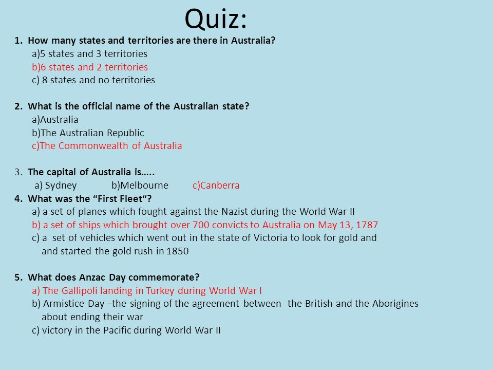 Quiz: 1. How many states and territories are there in Australia.