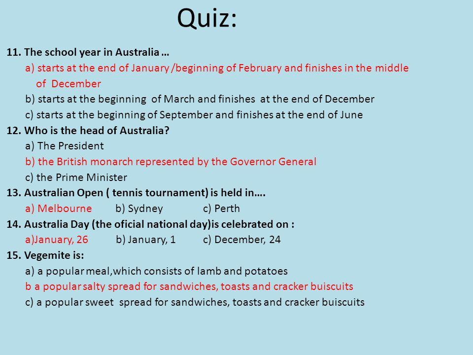 Quiz: 11.