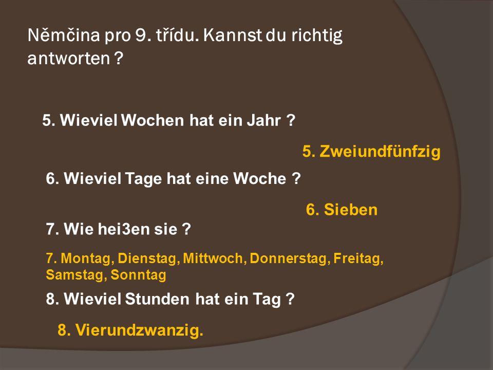 Němčina pro 9. třídu. Kannst du richtig antworten .