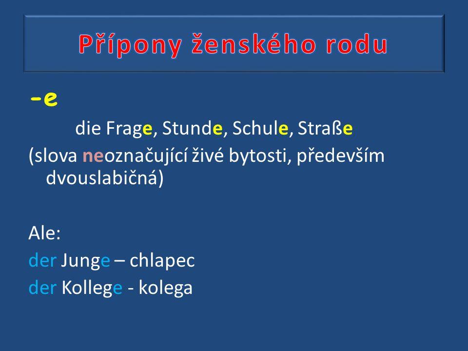 -e die Frage, Stunde, Schule, Straße (slova neoznačující živé bytosti, především dvouslabičná) Ale: der Junge – chlapec der Kollege - kolega
