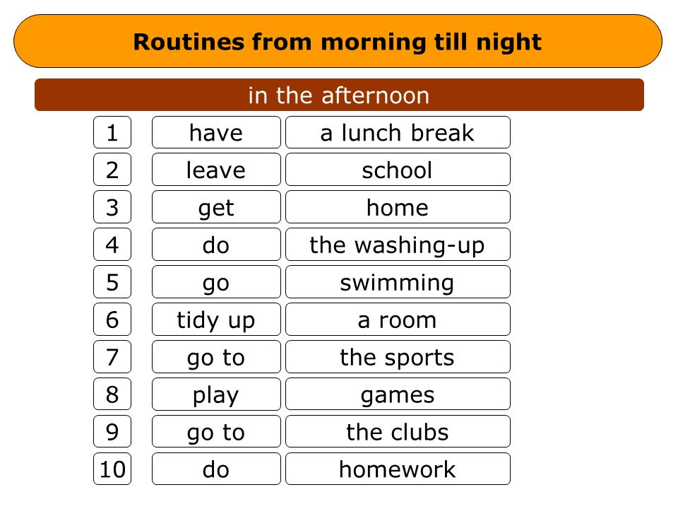 Routines from morning till night in the afternoon have leave get do go tidy up go to play go to do a lunch break school home the washing-up swimming a