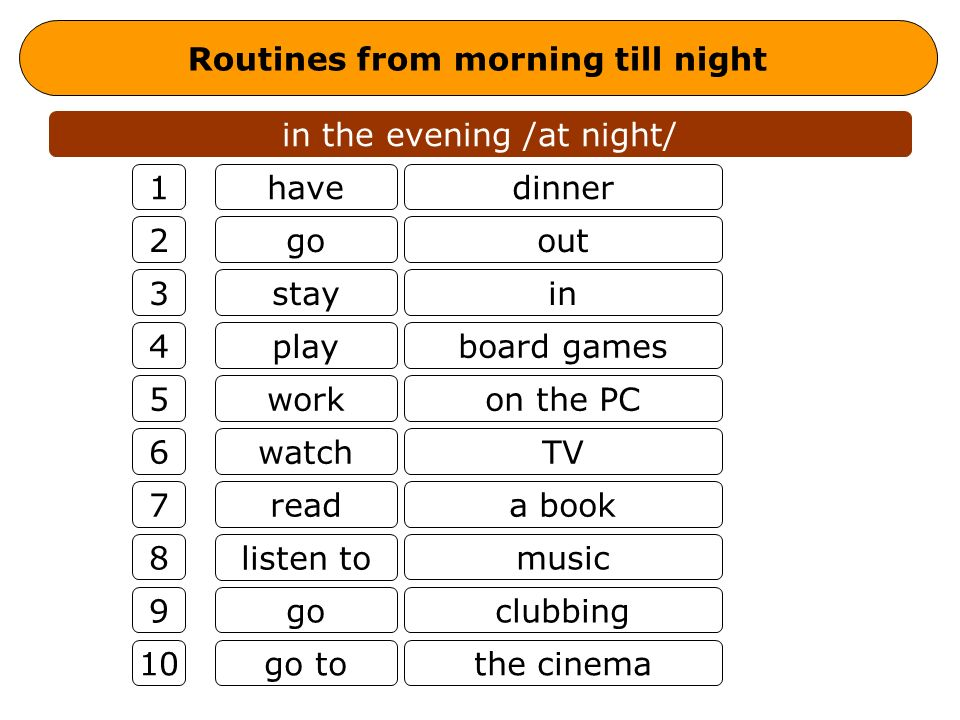 Routines from morning till night in the evening /at night/ have go stay play work watch read listen to go go to dinner out in board games on the PC TV