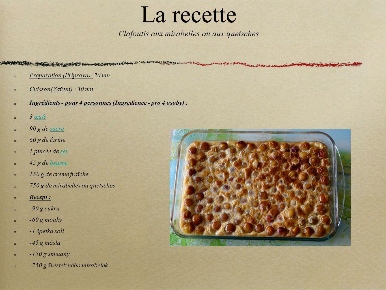 La recette Clafoutis aux mirabelles ou aux quetsches Préparation (Příprava): 20 mn Cuisson(Vaření) : 30 mn Ingrédients - pour 4 personnes (Ingredience