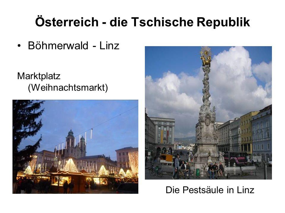 Österreich - die Tschische Republik Böhmerwald - Linz Marktplatz (Weihnachtsmarkt) Die Pestsäule in Linz