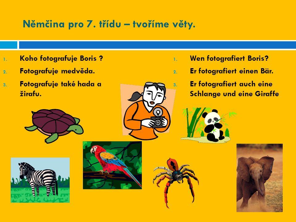 Němčina pro 7. třídu – tvoříme věty. 1. Koho fotografuje Boris ? 2. Fotografuje medvěda. 3. Fotografuje také hada a žirafu. 1. Wen fotografiert Boris?