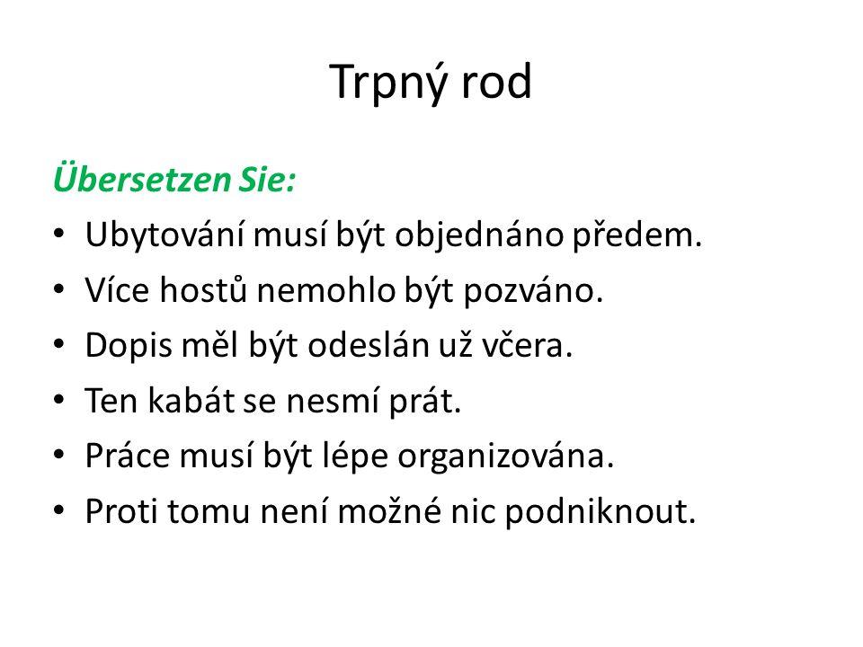 Trpný rod Übersetzung: Der Unterkunft muss im voraus bestellt werden.