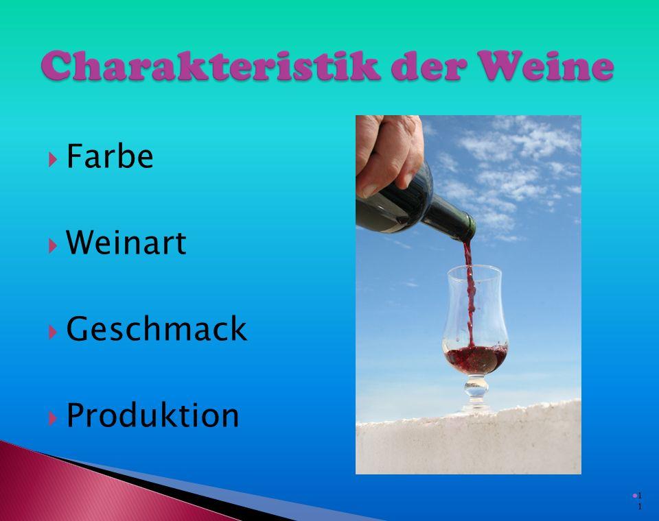  Weisswein ist zum Weissfleisch, Geflügel oder Fisch serviert  Rotwein ist zum dunklen Fleisch serviert (zum Rindfleisch oder Wildbret)  Weisswein sollte gekühlt werden  Rotwein sollte bei Raumtemperatur serviert werden 1010