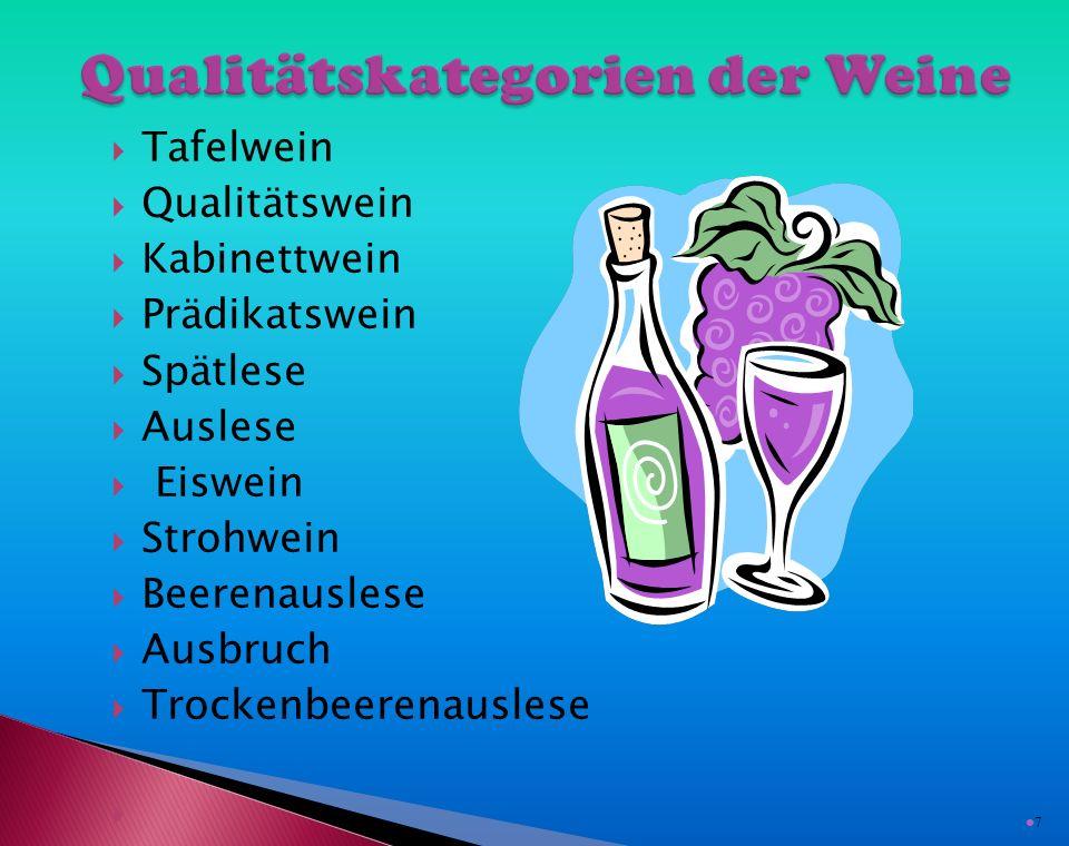  Tafelwein  Qualitätswein  Kabinettwein  Prädikatswein  Spätlese  Auslese  Eiswein  Strohwein  Beerenauslese  Ausbruch  Trockenbeerenauslese  7