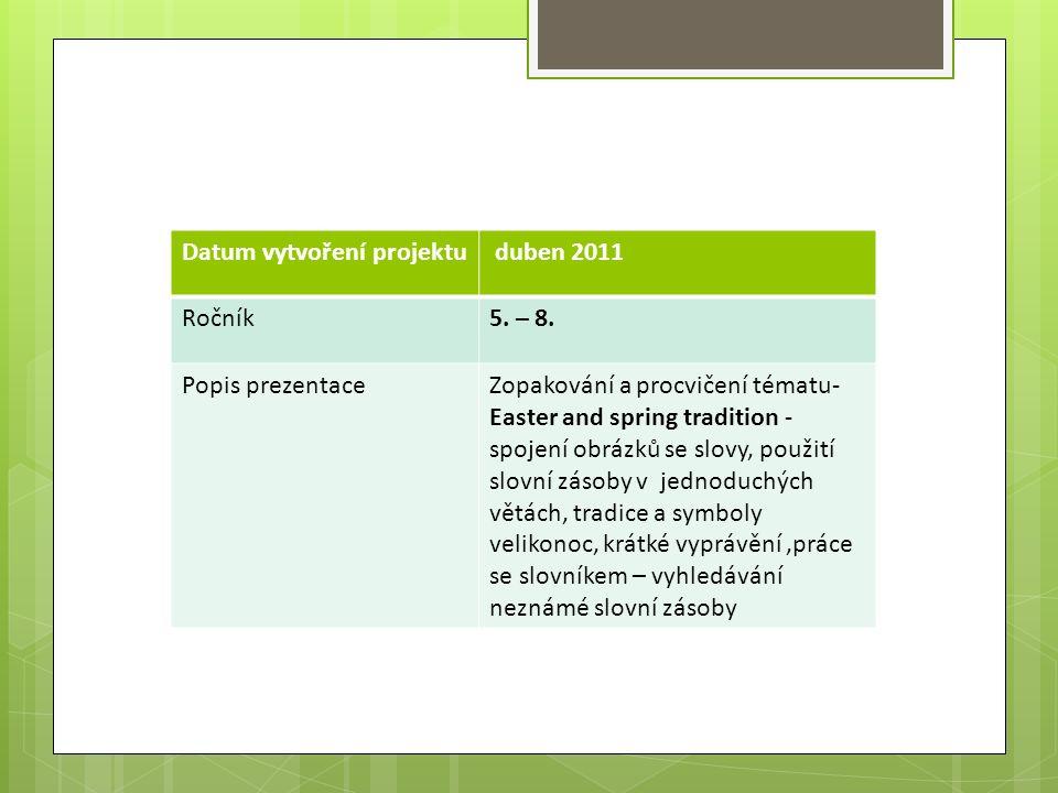 Datum vytvoření projektu duben 2011 Ročník5. – 8.