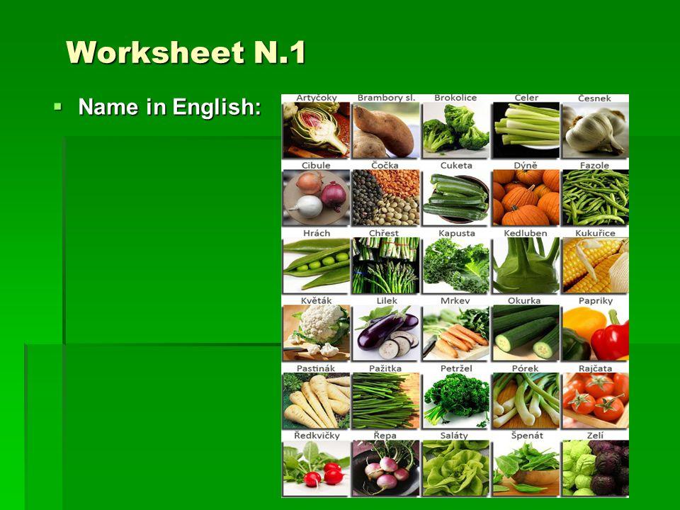 Worksheet N.1 Worksheet N.1  Name in English: