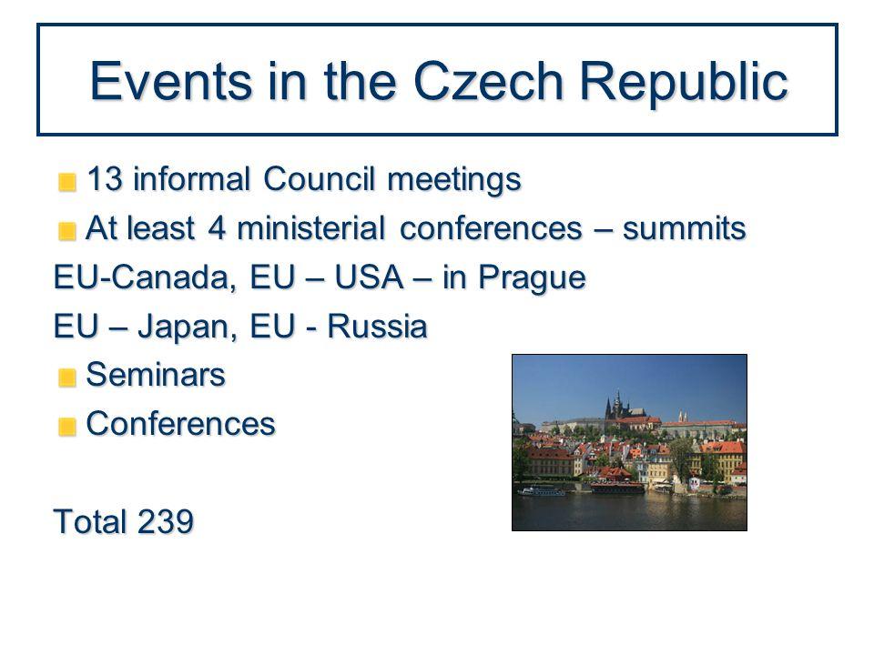 Events in the Czech Republic 13 informal Council meetings At least 4 ministerial conferences – summits EU-Canada, EU – USA – in Prague EU – Japan, EU