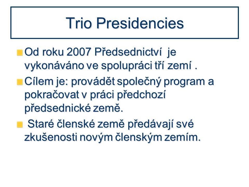 Trio Presidencies Od roku 2007 Předsednictví je vykonáváno ve spolupráci tří zemí. Cílem je: provádět společný program a pokračovat v práci předchozí