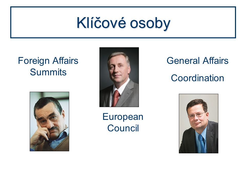Klíčové osoby European Council Foreign Affairs Summits General Affairs Coordination