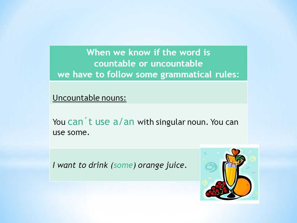 When we know if the word is countable or uncountable we have to follow some grammatical rules: Uncountable nouns: You can´t use a/an with singular noun.