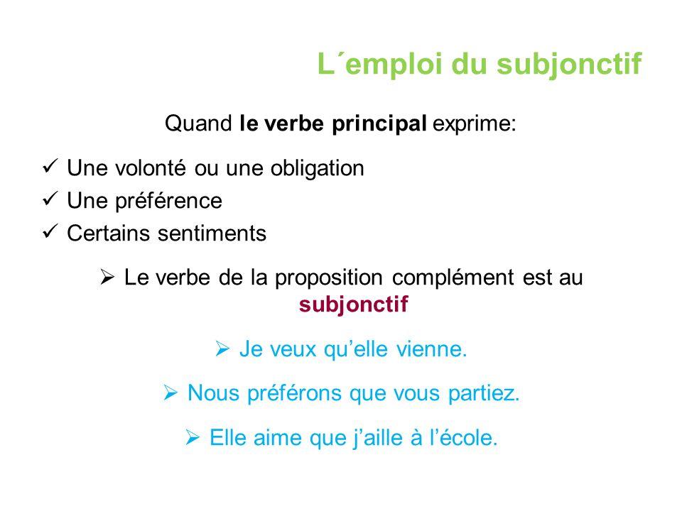 L´emploi du subjonctif Quand le verbe principal exprime: Une volonté ou une obligation Une préférence Certains sentiments  Le verbe de la proposition complément est au subjonctif  Je veux qu'elle vienne.