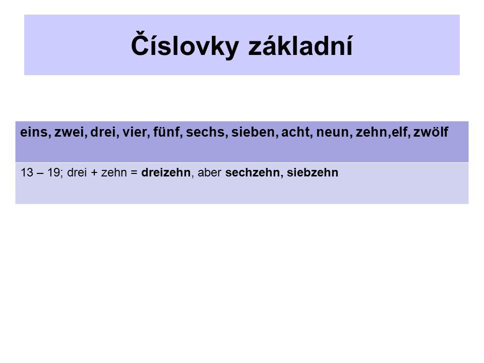 Číslovky základní eins, zwei, drei, vier, fünf, sechs, sieben, acht, neun, zehn,elf, zwölf 13 – 19; drei + zehn = dreizehn, aber sechzehn, siebzehn