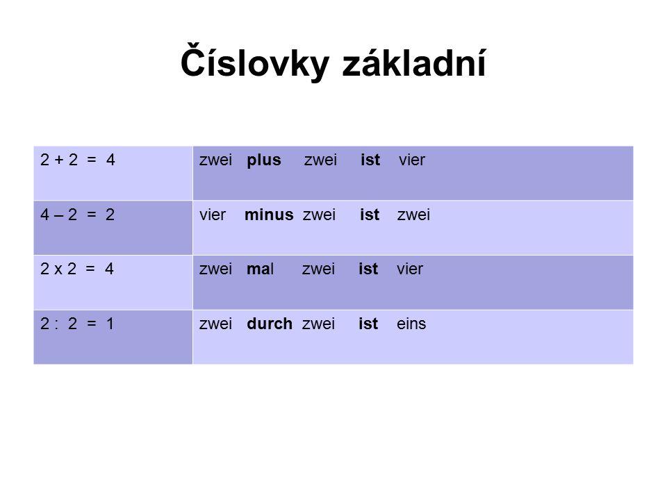 Číslovky základní 2 + 2 = 4zwei plus zwei ist vier 4 – 2 = 2vier minus zwei ist zwei 2 x 2 = 4zwei mal zwei ist vier 2 : 2 = 1zwei durch zwei ist eins