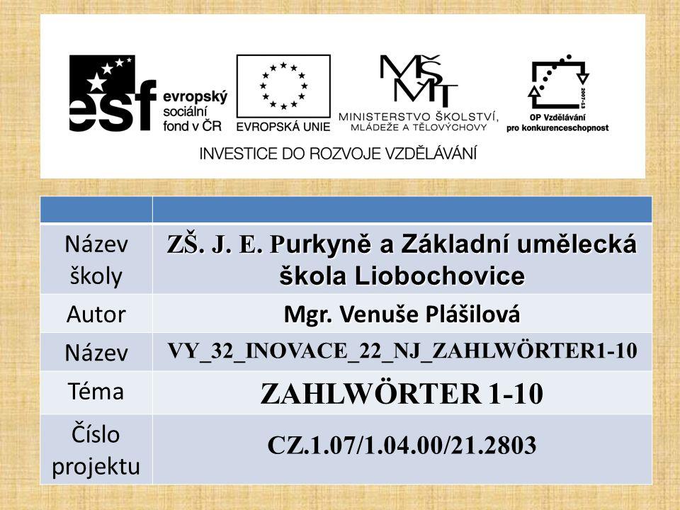 Název školy ZŠ. J. E. P urkyně a Základní umělecká škola Liobochovice Autor Mgr.