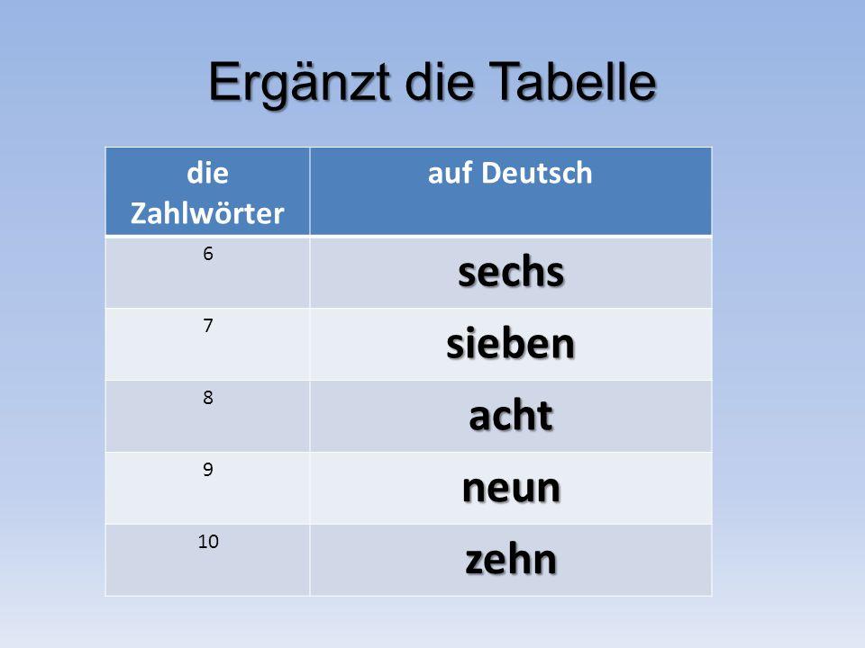 Ergänzt die Tabelle die Zahlwörter auf Deutsch 6sechs 7sieben 8acht 9neun 10zehn