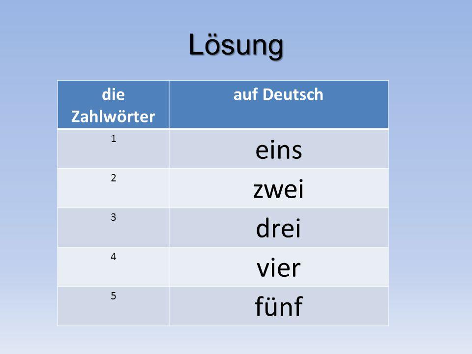 Lösung die Zahlwörter auf Deutsch 1 eins 2 zwei 3 drei 4 vier 5 fünf