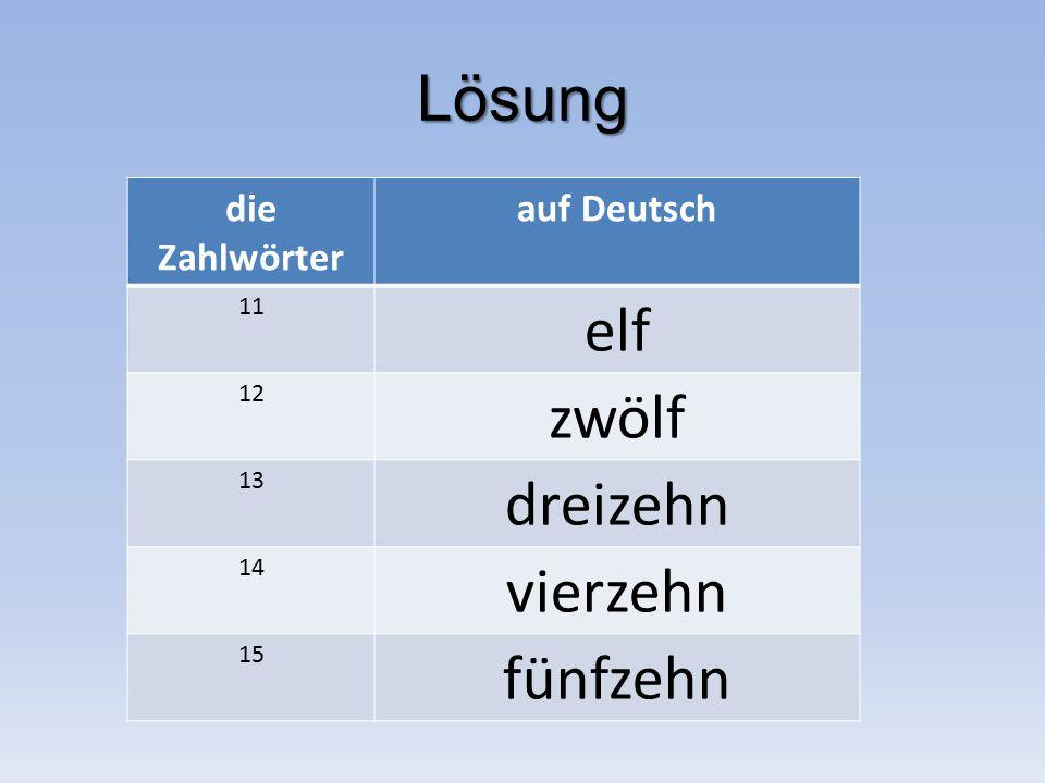 Lösung die Zahlwörter auf Deutsch 11 elf 12 zwölf 13 dreizehn 14 vierzehn 15 fünfzehn