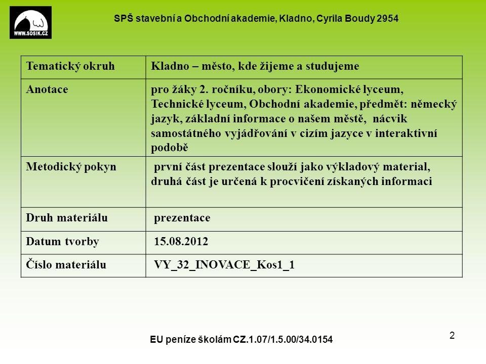 SPŠ stavební a Obchodní akademie, Kladno, Cyrila Boudy 2954 EU peníze školám CZ.1.07/1.5.00/34.0154 2 Tematický okruhKladno – město, kde žijeme a studujeme Anotacepro žáky 2.