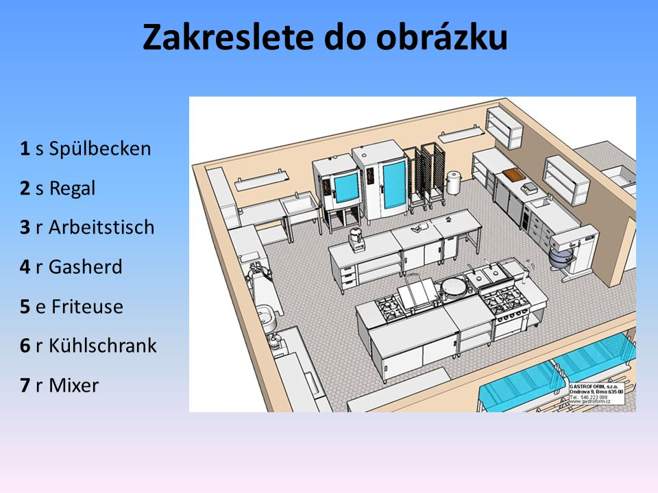 Zakreslete do obrázku 1 s Spülbecken 2 s Regal 3 r Arbeitstisch 4 r Gasherd 5 e Friteuse 6 r Kühlschrank 7 r Mixer