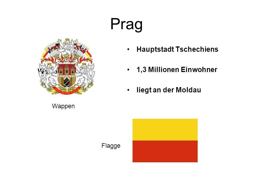 Prag Wappen Hauptstadt Tschechiens 1,3 Millionen Einwohner liegt an der Moldau Wappen Flagge