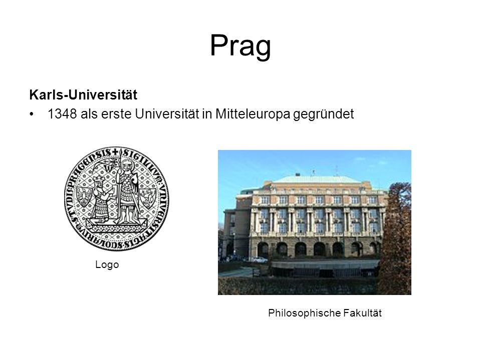 Prag Karls-Universität 1348 als erste Universität in Mitteleuropa gegründet Philosophische Fakultät Logo