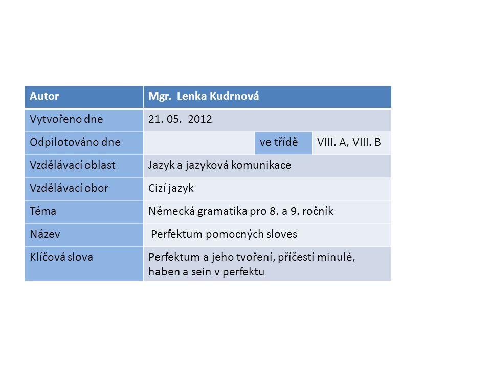 AutorMgr. Lenka Kudrnová Vytvořeno dne21. 05. 2012 Odpilotováno dneve tříděVIII.