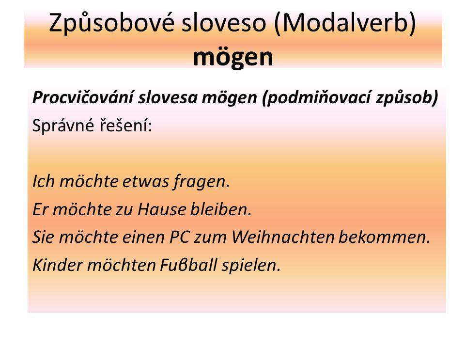 Způsobové sloveso (Modalverb) mögen Procvičování slovesa mögen (podmiňovací způsob) Správné řešení: Ich möchte etwas fragen.