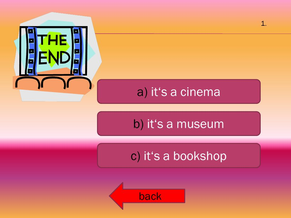 a) it's a cinema b) it's a museum c) it's a bookshop back 1.