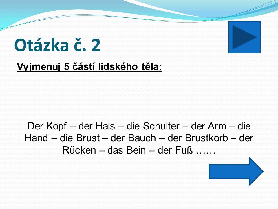 Otázka č. 3 Doplň členy určité: _____ Schulter, _____Hals, _____Bauch Die – der - der