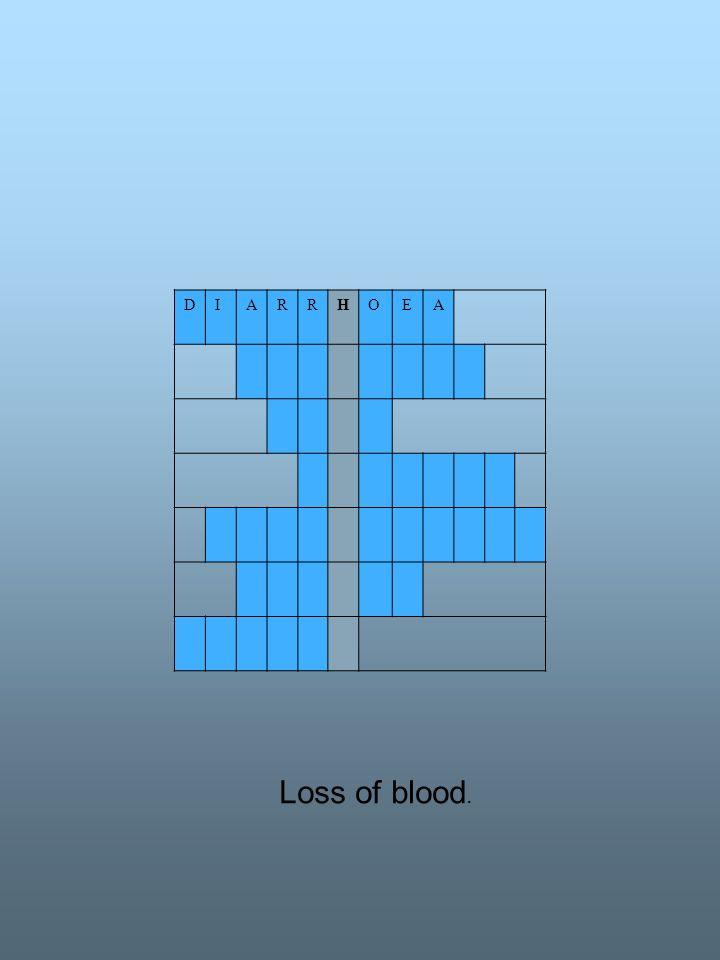 DIARRHOEA Loss of blood.