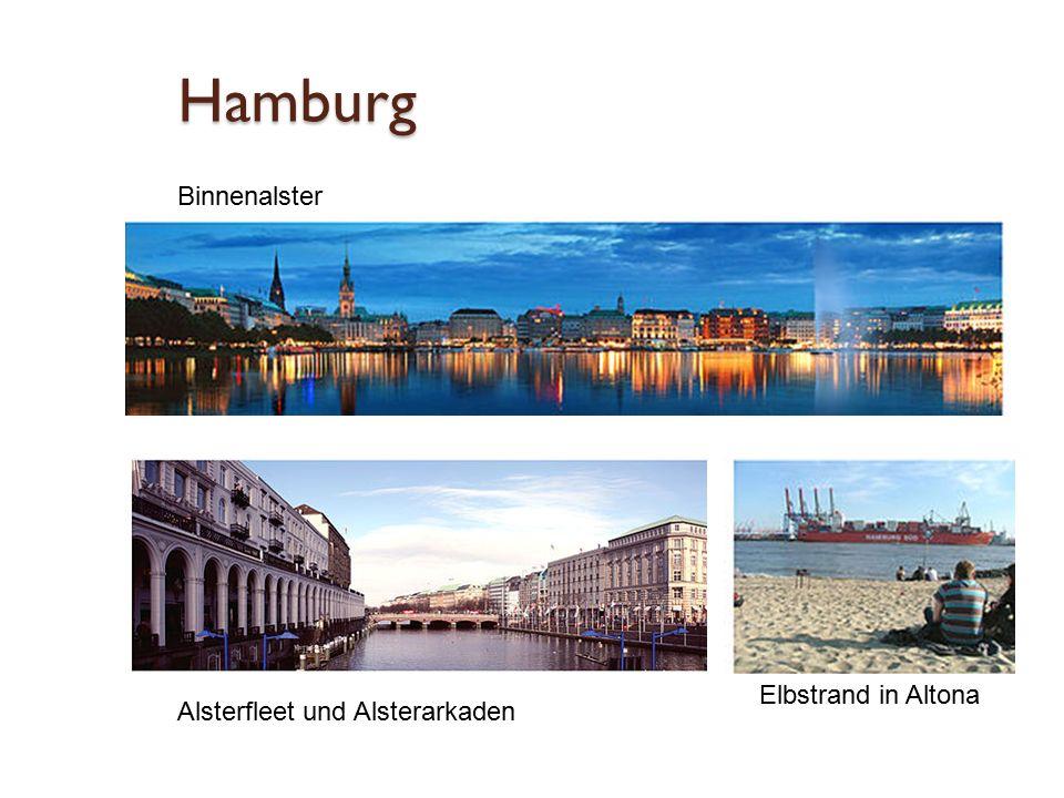 Hamburg Binnenalster Alsterfleet und Alsterarkaden Elbstrand in Altona
