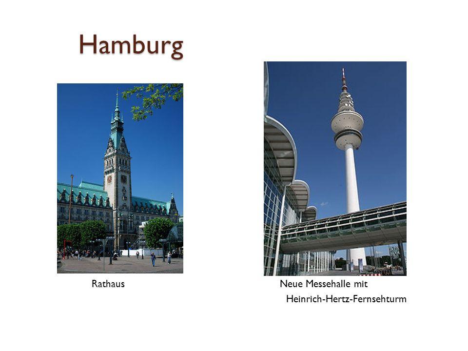 Hamburg Rathaus Neue Messehalle mit Heinrich-Hertz-Fernsehturm