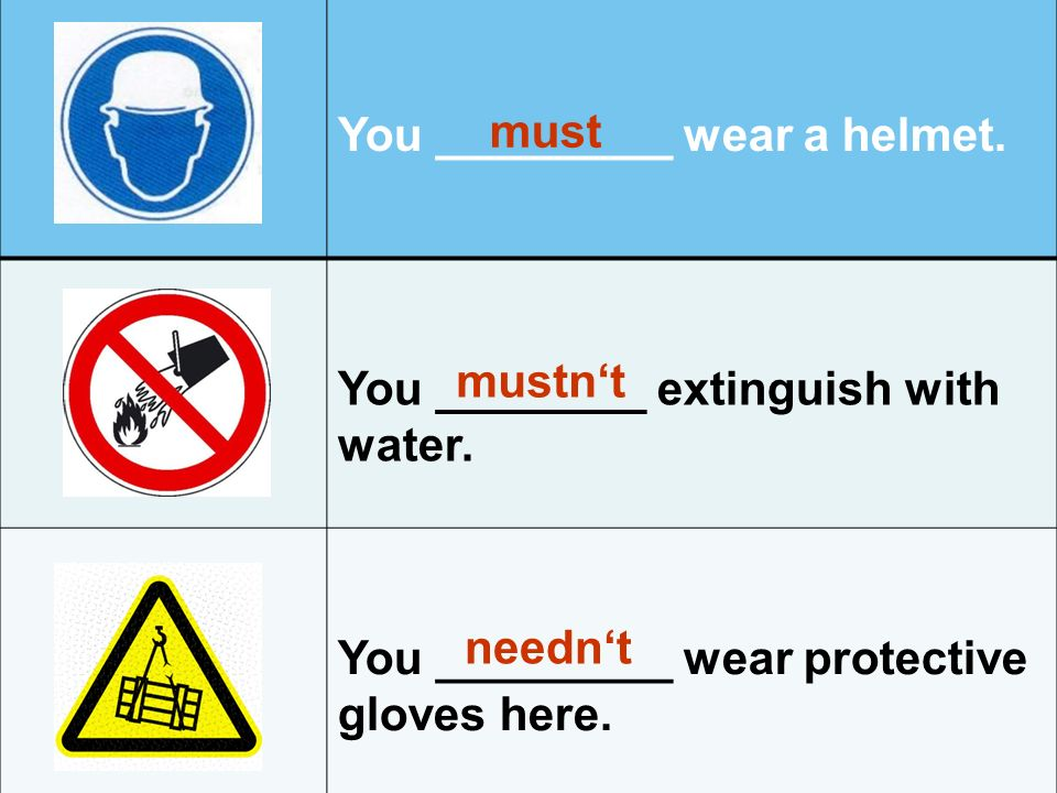 You _________ wear a helmet. You ________ extinguish with water.