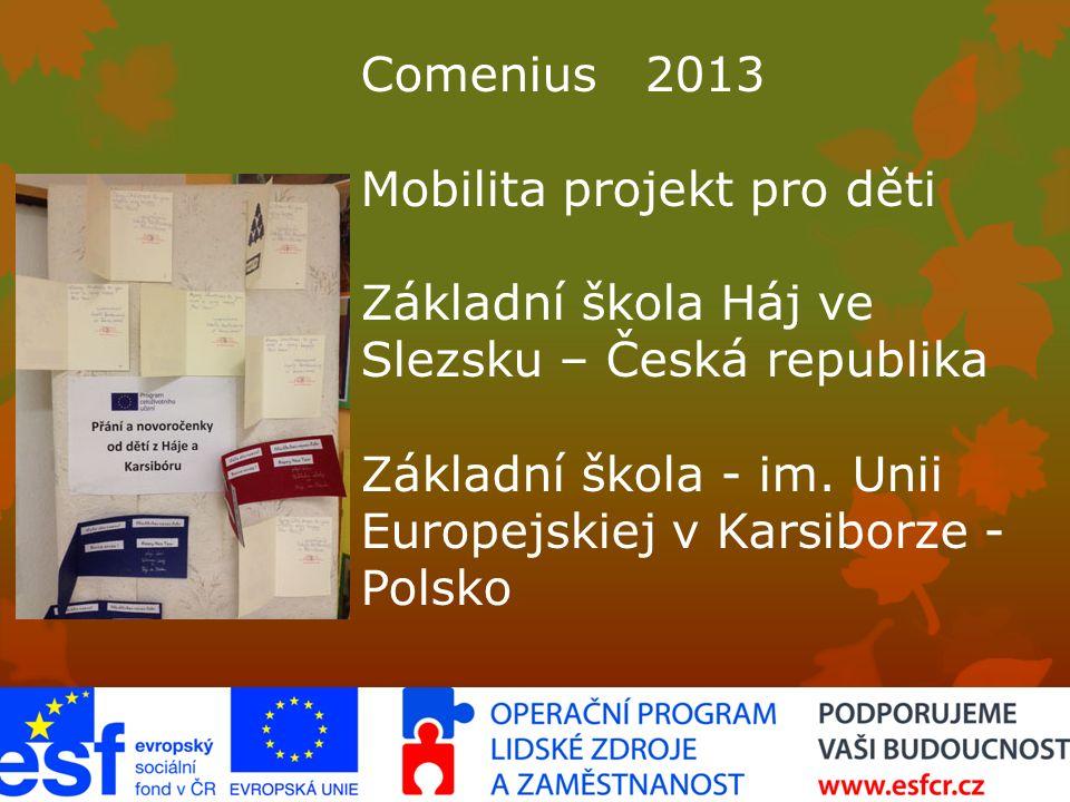 Comenius 2013 Mobilita projekt pro děti Základní škola Háj ve Slezsku – Česká republika Základní škola - im.