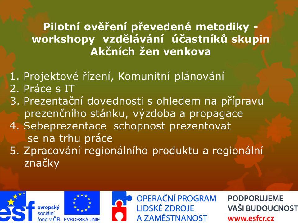 Pilotní ověření převedené metodiky  workshopy  vzdělávání účastníků skupin Akčních žen venkova 1.