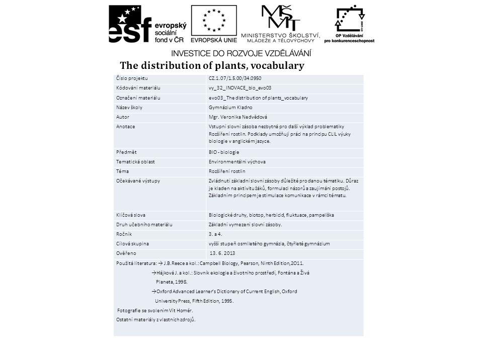Číslo projektuCZ.1.07/1.5.00/34.0950 Kódování materiáluvy_32_INOVACE_bio_evo03 Označení materiáluevo03_The distribution of plants_vocabulary Název ško