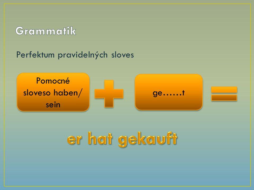 Perfektum pravidelných sloves Pomocné sloveso haben/ sein ge……t