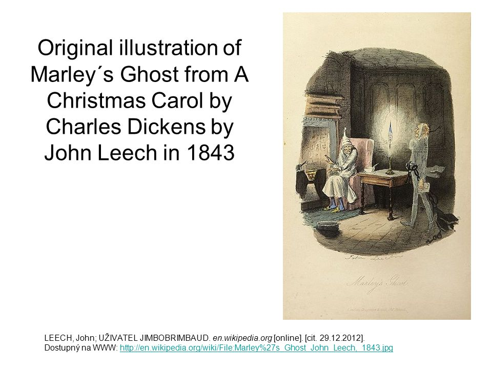 Original illustration of Marley´s Ghost from A Christmas Carol by Charles Dickens by John Leech in 1843 LEECH, John; UŽIVATEL JIMBOBRIMBAUD. en.wikipe