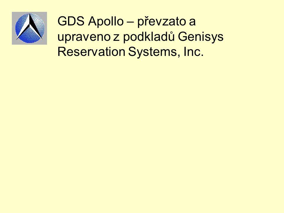 GDS Apollo – převzato a upraveno z podkladů Genisys Reservation Systems, Inc.