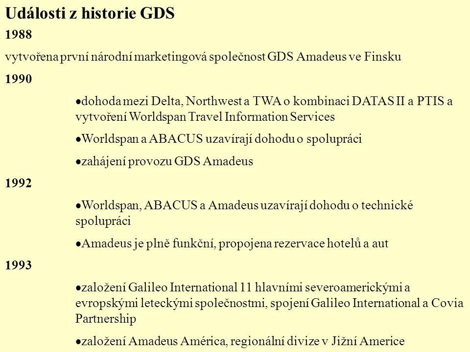 Události z historie GDS 1988 vytvořena první národní marketingová společnost GDS Amadeus ve Finsku 1990  dohoda mezi Delta, Northwest a TWA o kombina