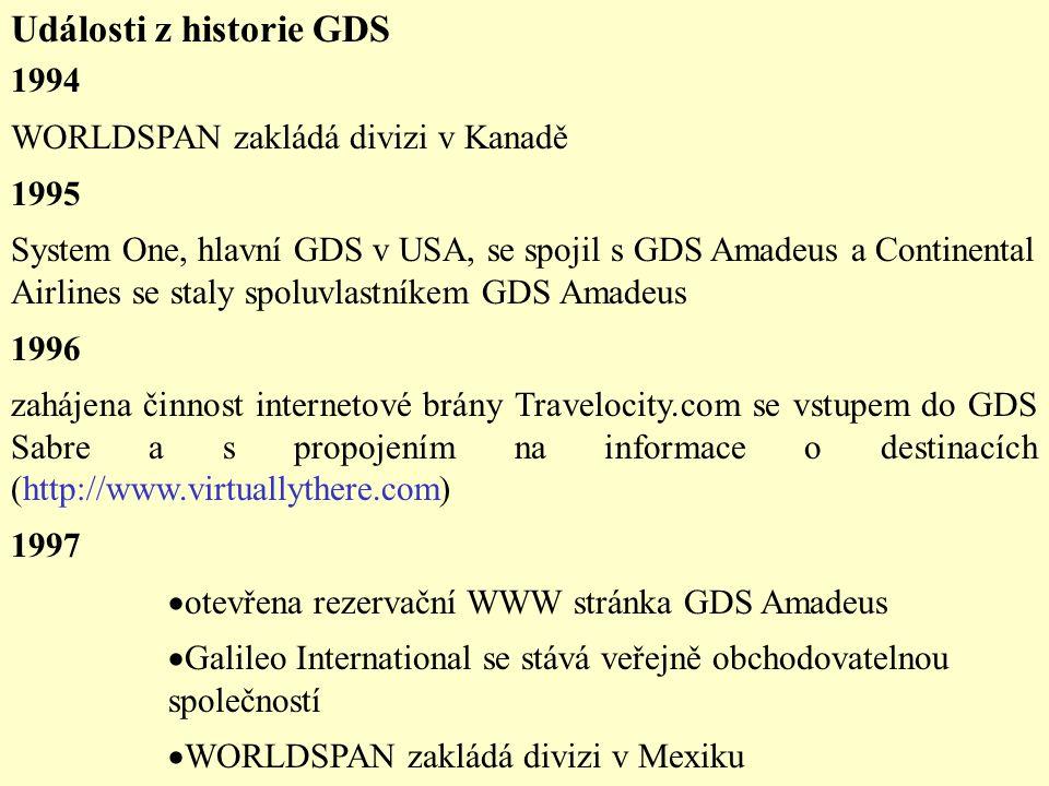 Události z historie GDS 1994 WORLDSPAN zakládá divizi v Kanadě 1995 System One, hlavní GDS v USA, se spojil s GDS Amadeus a Continental Airlines se staly spoluvlastníkem GDS Amadeus 1996 zahájena činnost internetové brány Travelocity.com se vstupem do GDS Sabre a s propojením na informace o destinacích (http://www.virtuallythere.com) 1997  otevřena rezervační WWW stránka GDS Amadeus  Galileo International se stává veřejně obchodovatelnou společností  WORLDSPAN zakládá divizi v Mexiku